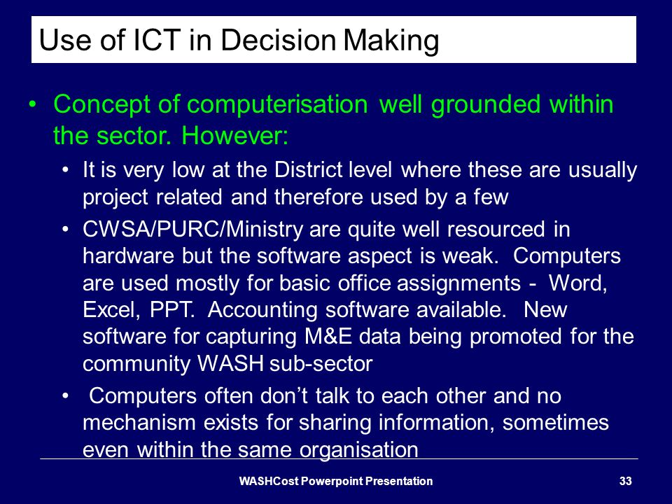 Use of ICT in Decision Making