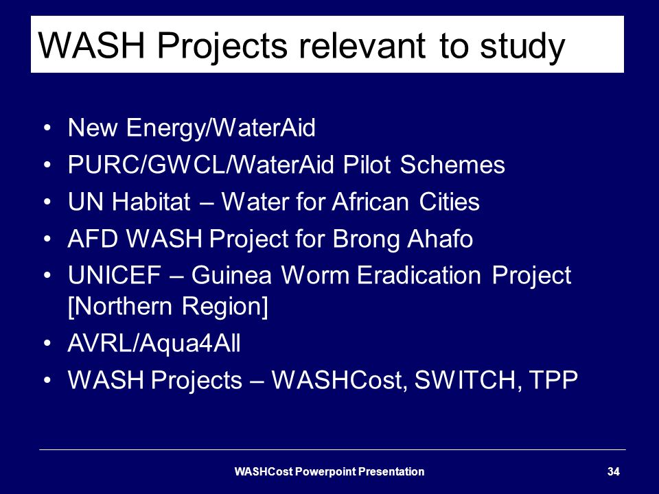 WASH Projects relevant to study