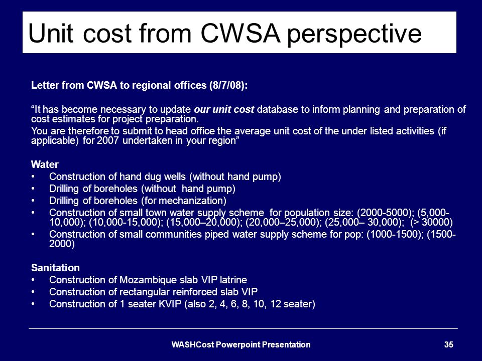 Unit cost from CWSA perspective