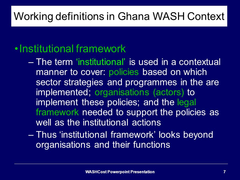 Working definitions in Ghana WASH Context