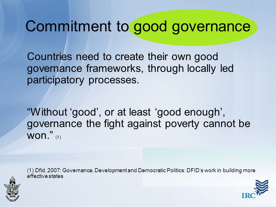 Commitment to good governance