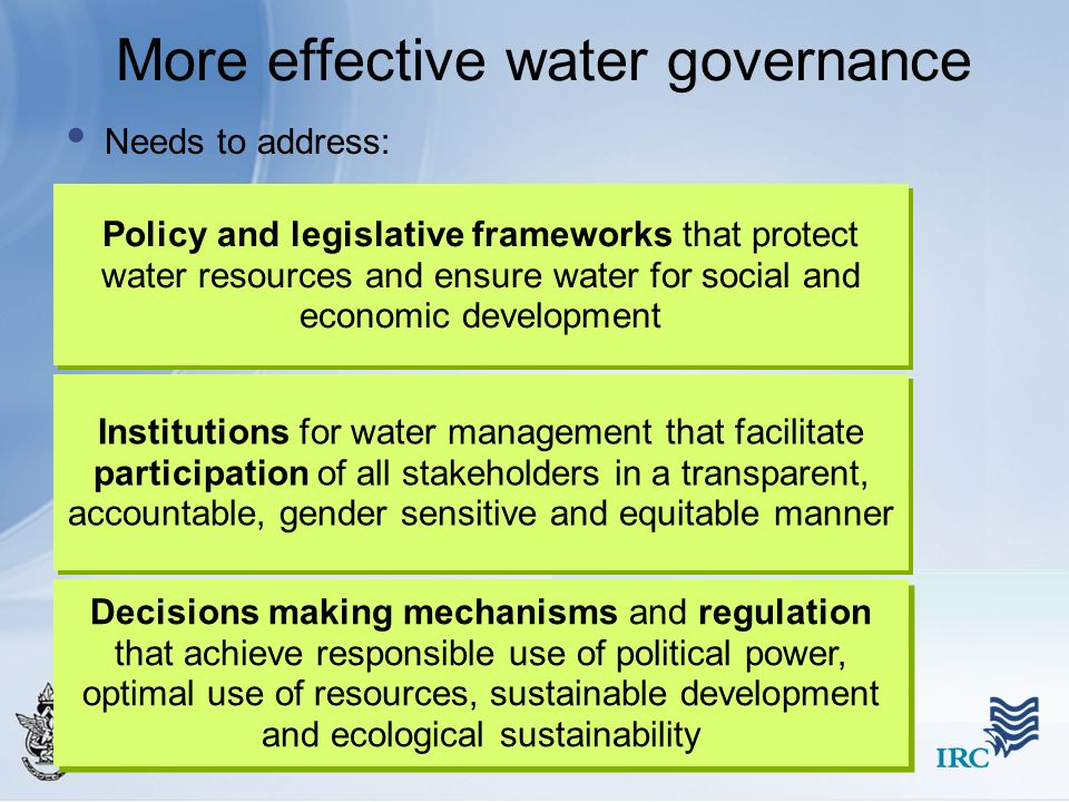 More effective water governance