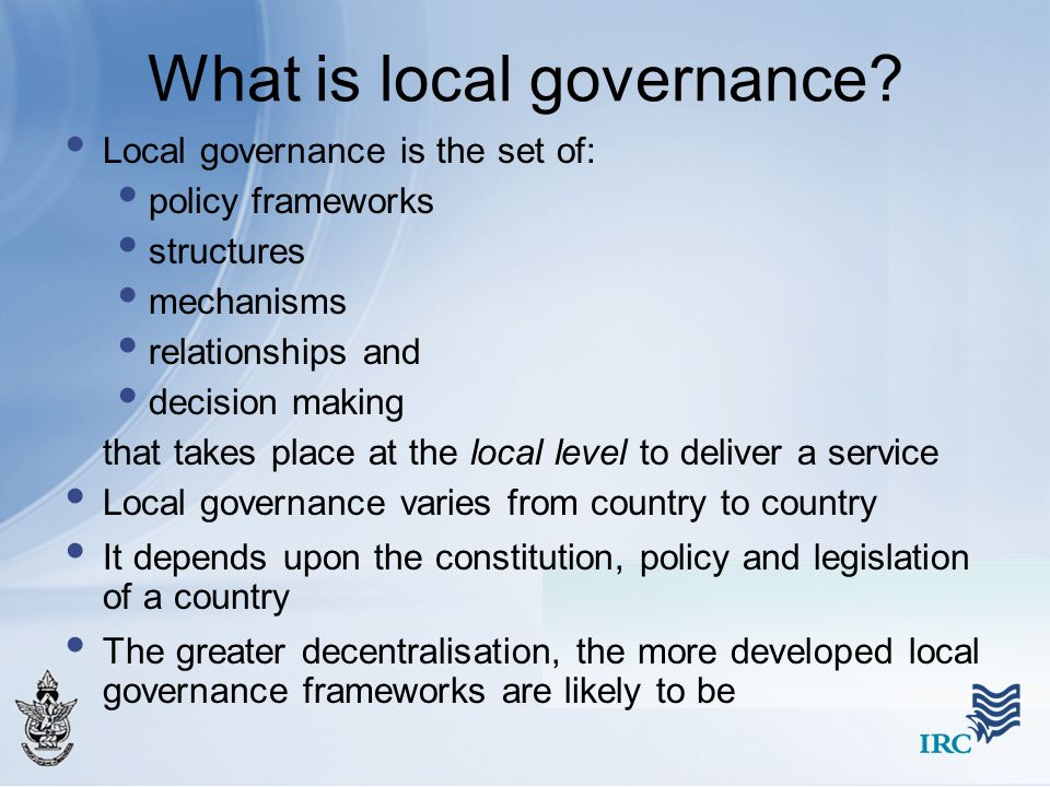 What is local governance