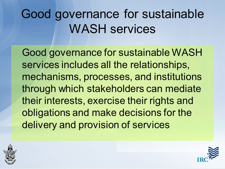 Good governance for sustainable WASH services