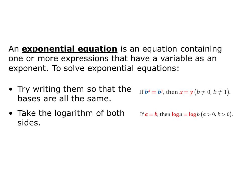 Objectives Solve Exponential And Logarithmic Equations And