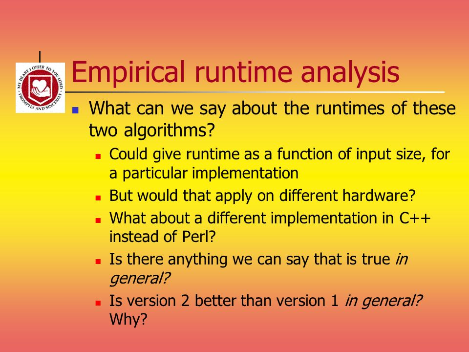 Empirical runtime analysis