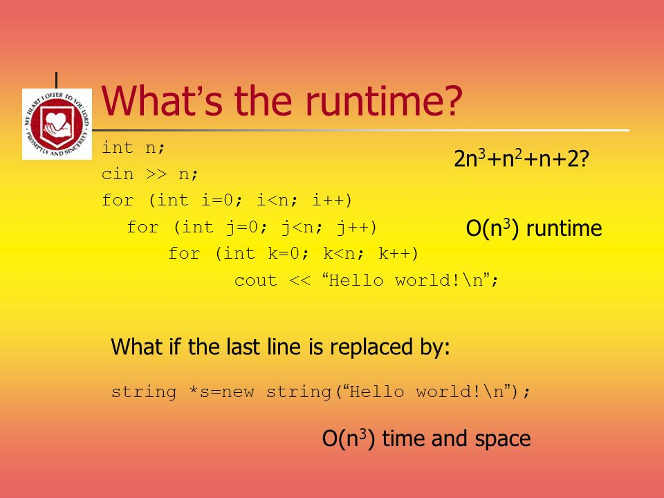 What's the runtime 2n3+n2+n+2 O(n3) runtime