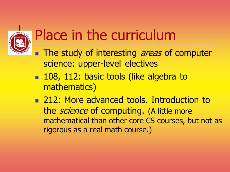 Place in the curriculum