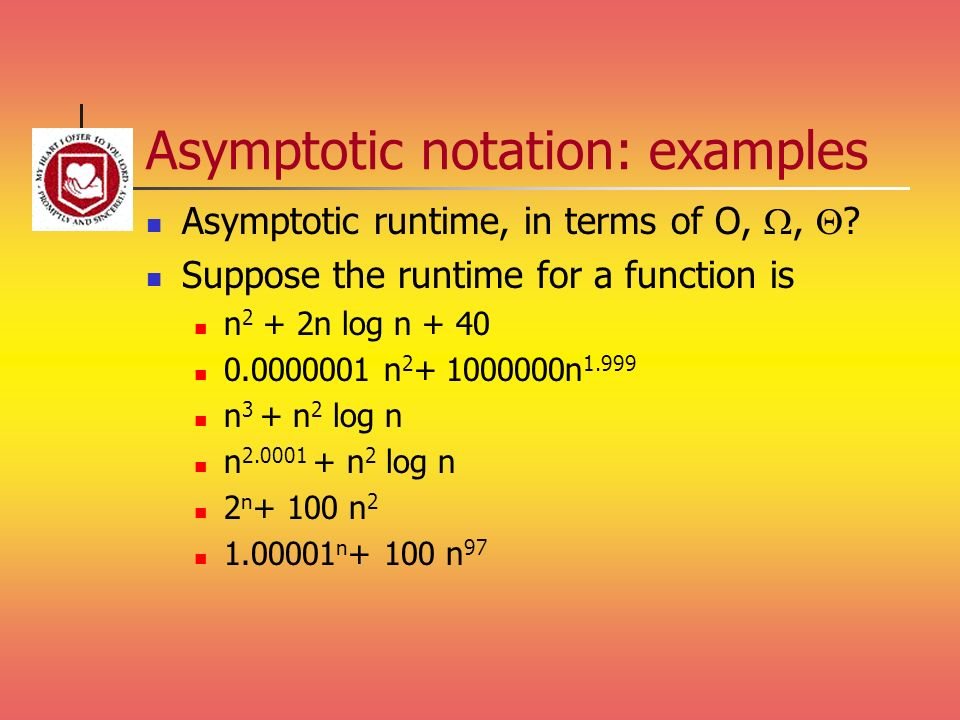 Asymptotic notation: examples