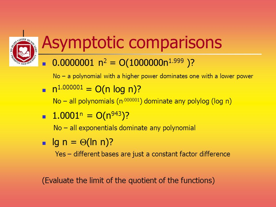 Asymptotic comparisons