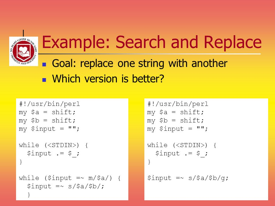 Example: Search and Replace