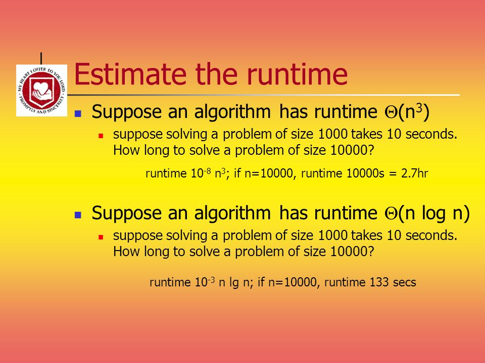 Estimate the runtime Suppose an algorithm has runtime Q(n3)