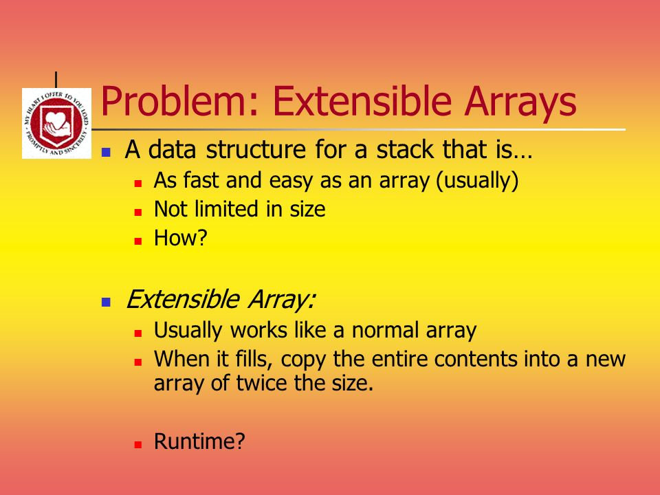 Problem: Extensible Arrays