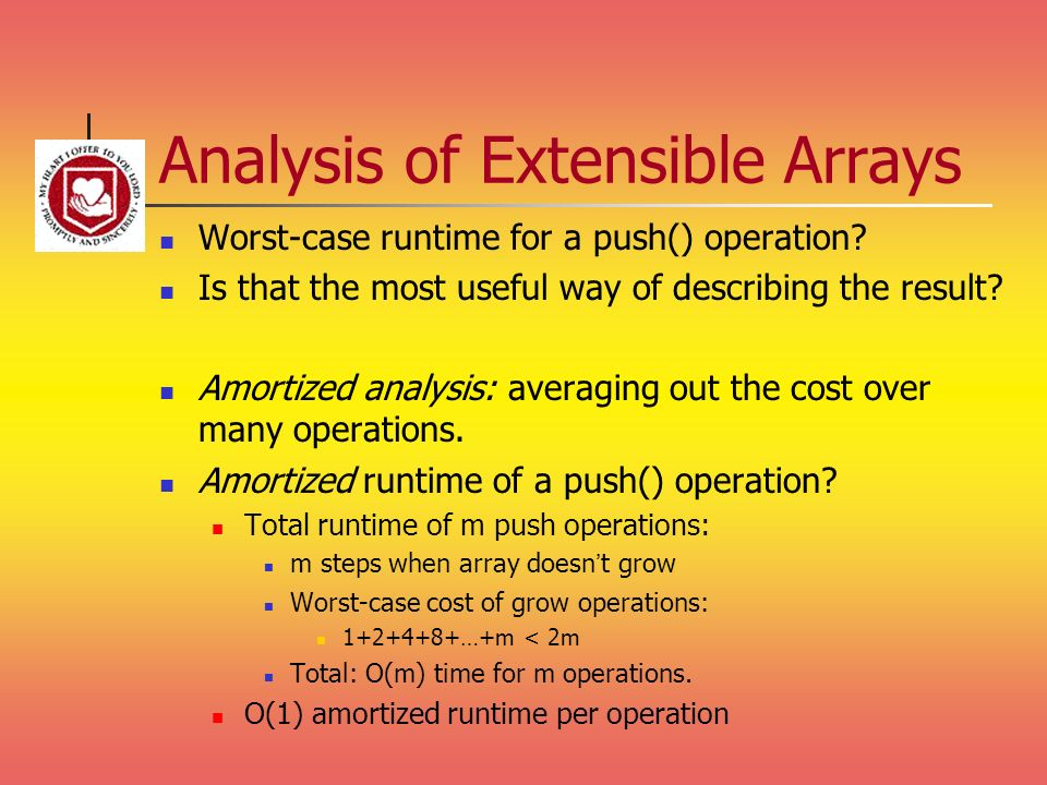 Analysis of Extensible Arrays