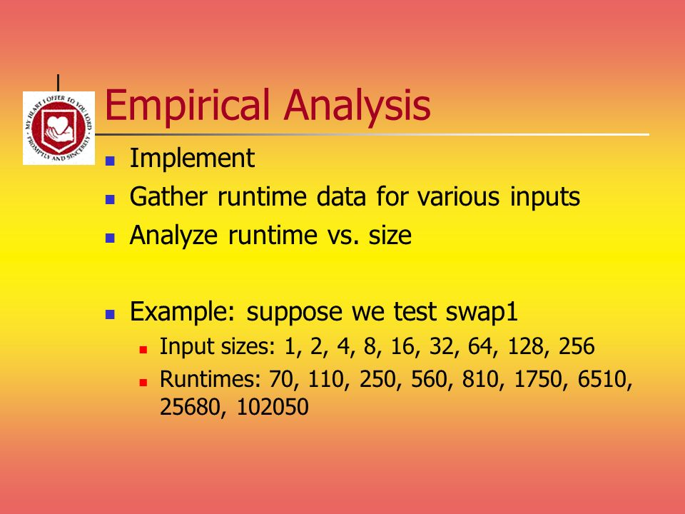 Empirical Analysis Implement Gather runtime data for various inputs