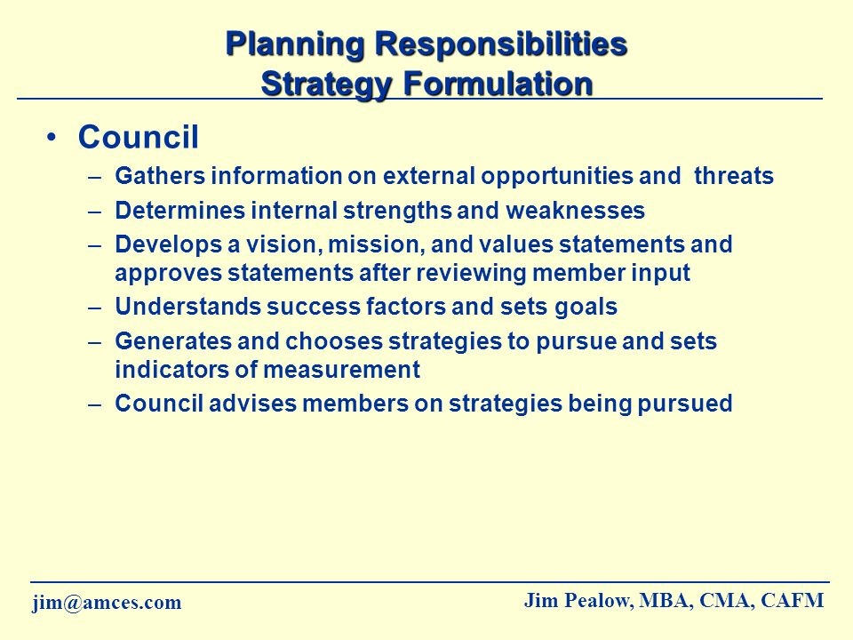 Planning Responsibilities Strategy Formulation
