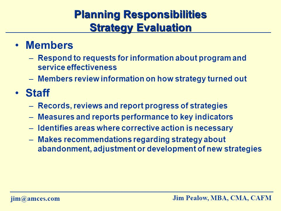 Planning Responsibilities Strategy Evaluation