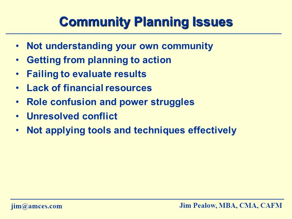 Community Planning Issues