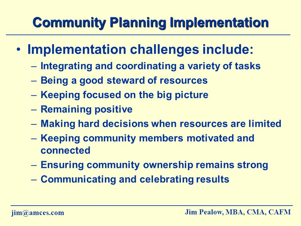 Community Planning Implementation