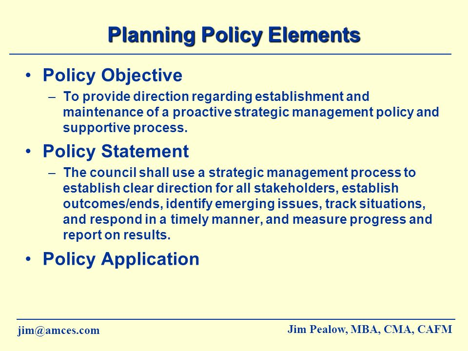 Planning Policy Elements