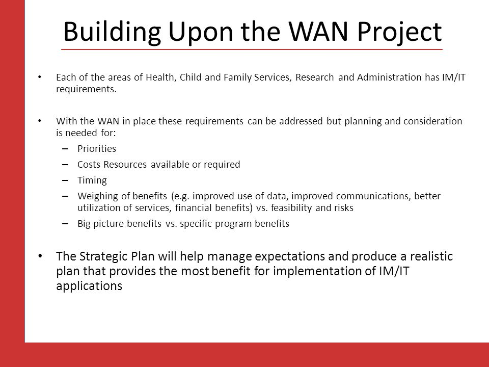 Building Upon the WAN Project