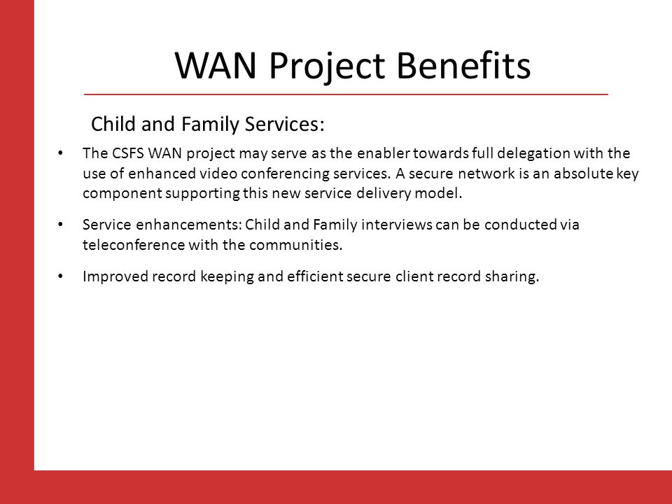 WAN Project Benefits Child and Family Services: