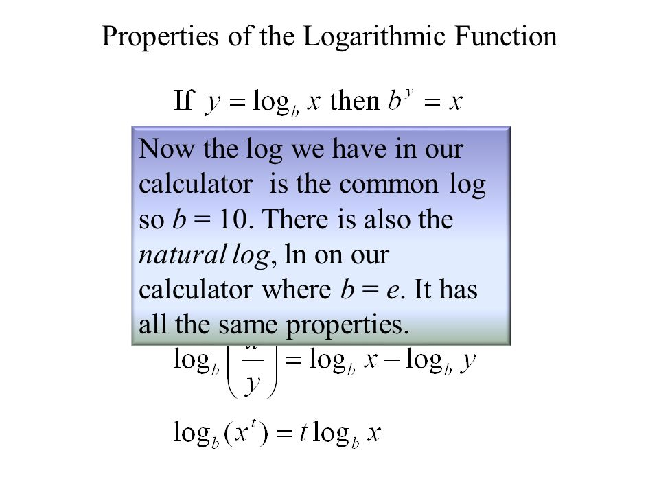 Properties of the Logarithmic Function