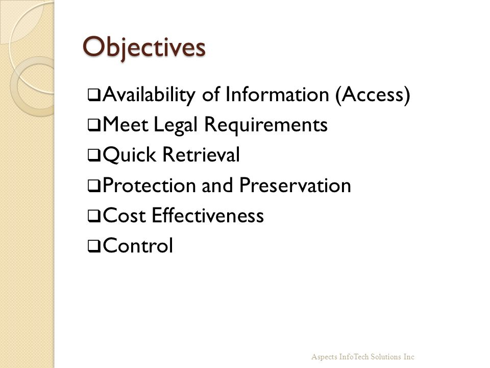 Objectives Availability of Information (Access)