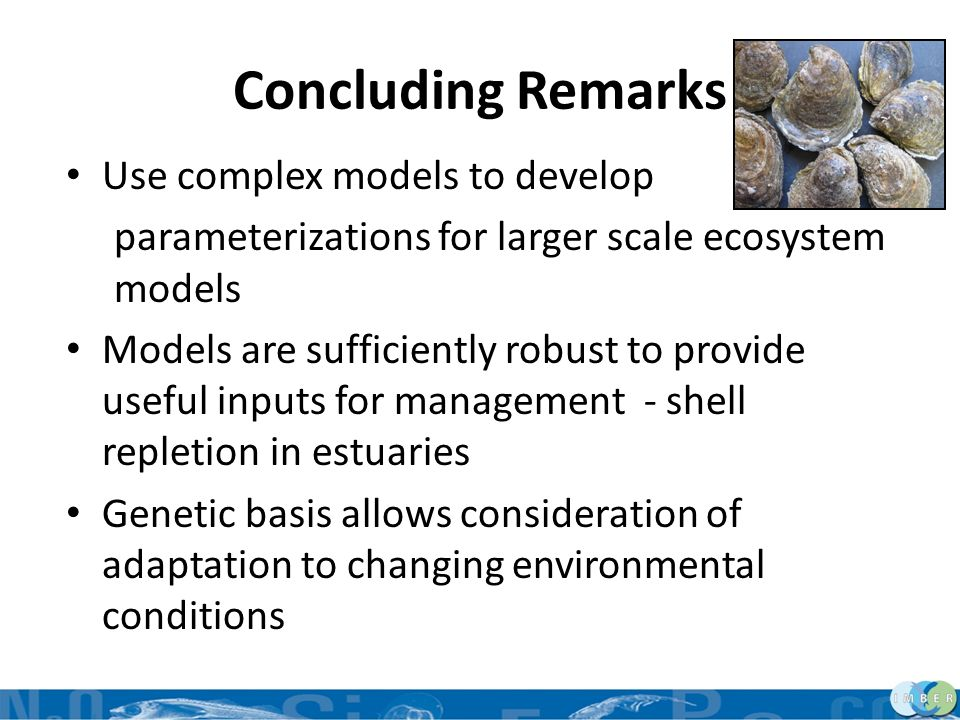 Concluding Remarks Use complex models to develop