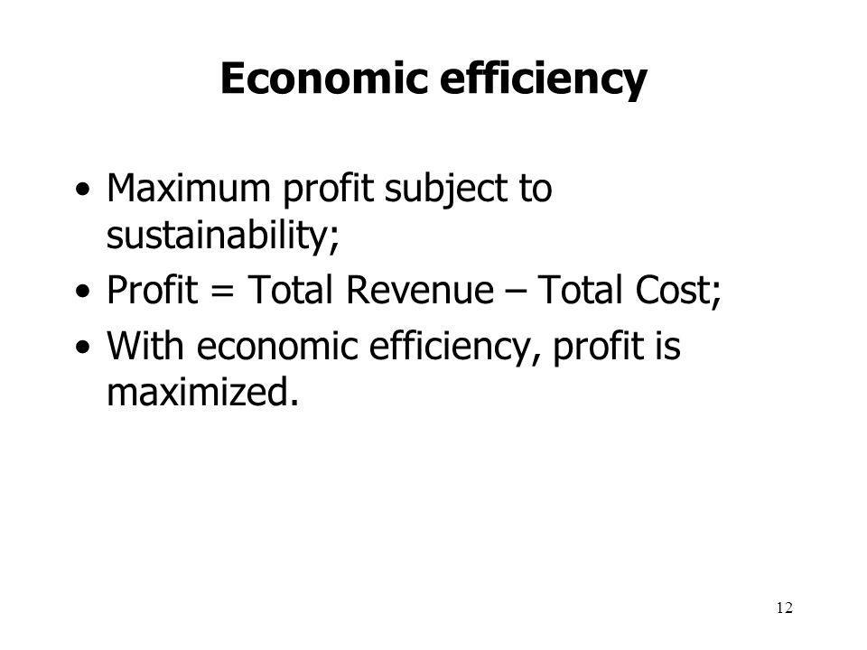 Economic efficiency Maximum profit subject to sustainability;