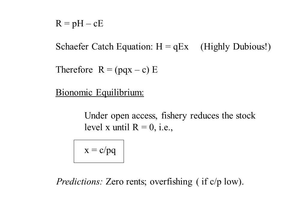 R = pH – cE Schaefer Catch Equation: H = qEx (Highly Dubious!) Therefore R = (pqx – c) E. Bionomic Equilibrium: