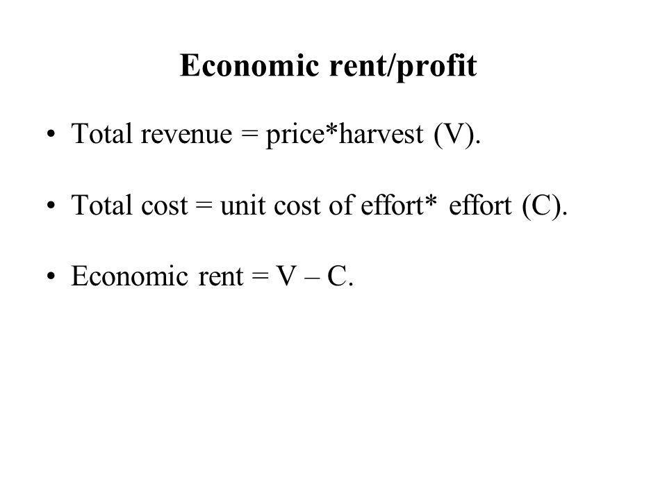 Economic rent/profit Total revenue = price*harvest (V).
