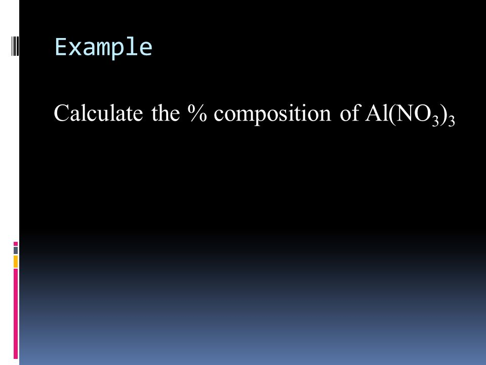 Example Calculate the % composition of Al(NO3)3