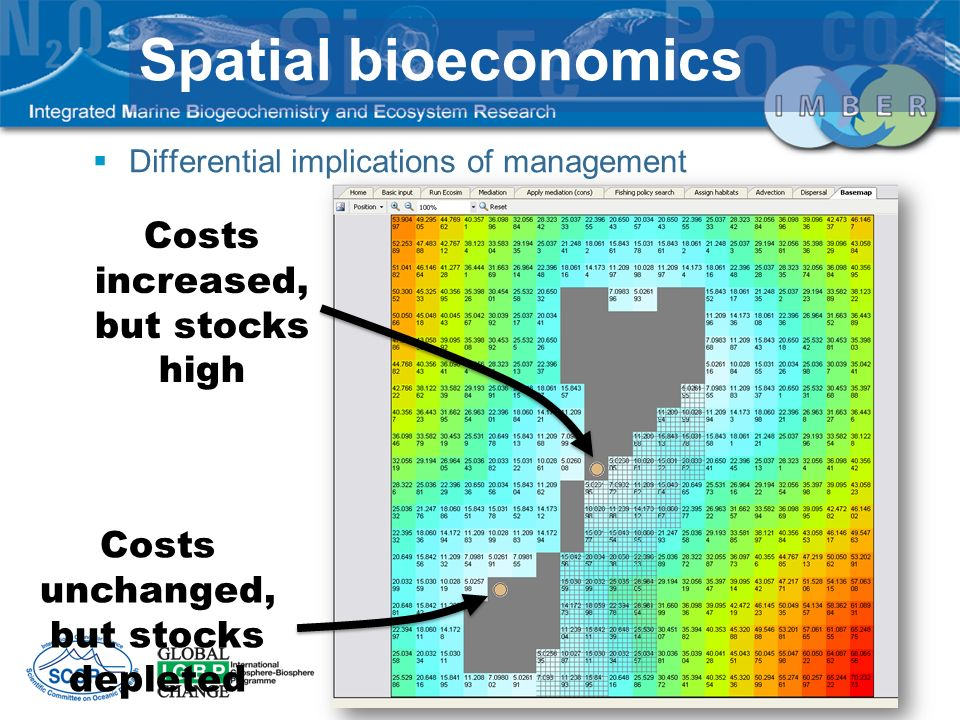 Spatial bioeconomics Costs increased, but stocks high