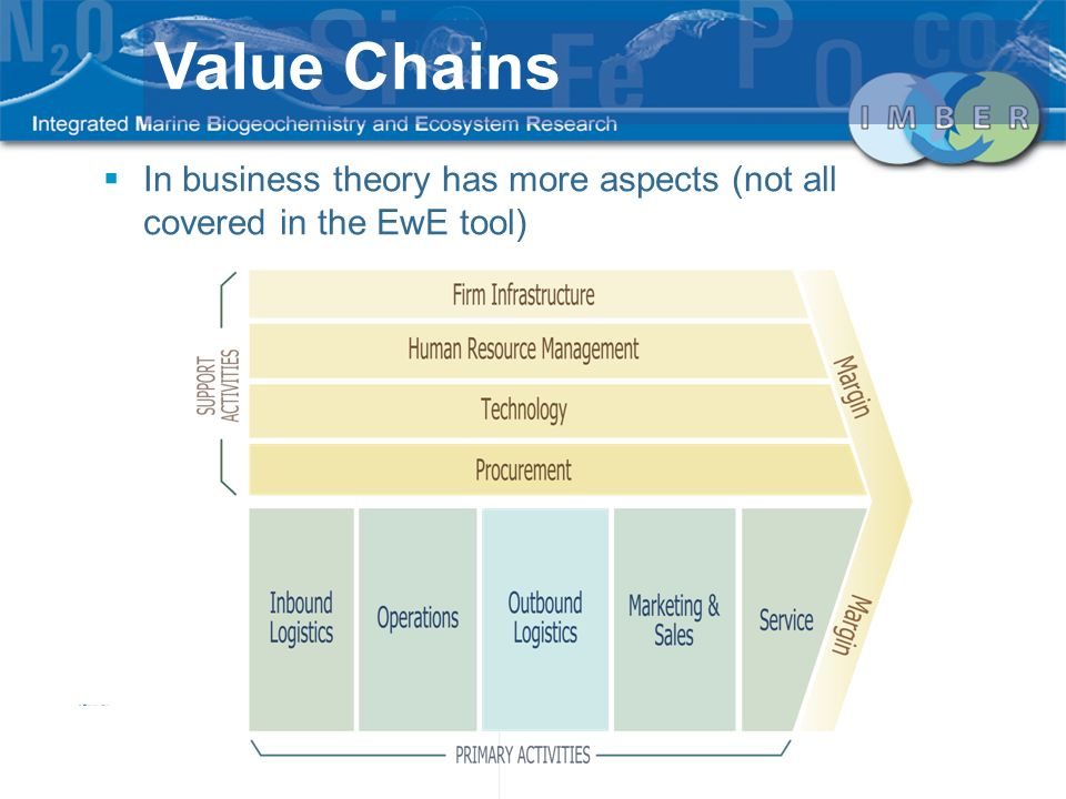 Value Chains In business theory has more aspects (not all covered in the EwE tool)