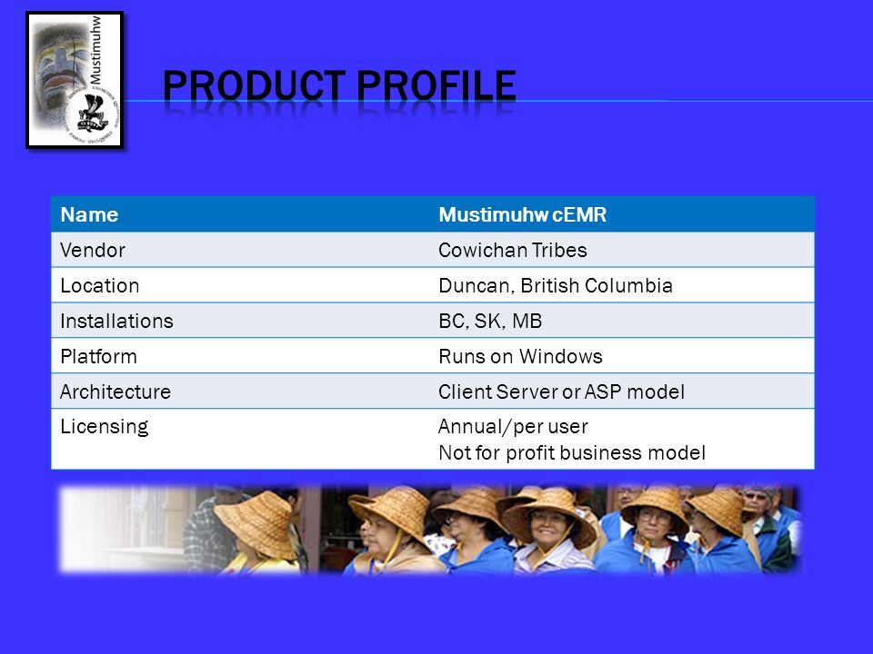 Product Profile Name Mustimuhw cEMR Vendor Cowichan Tribes Location