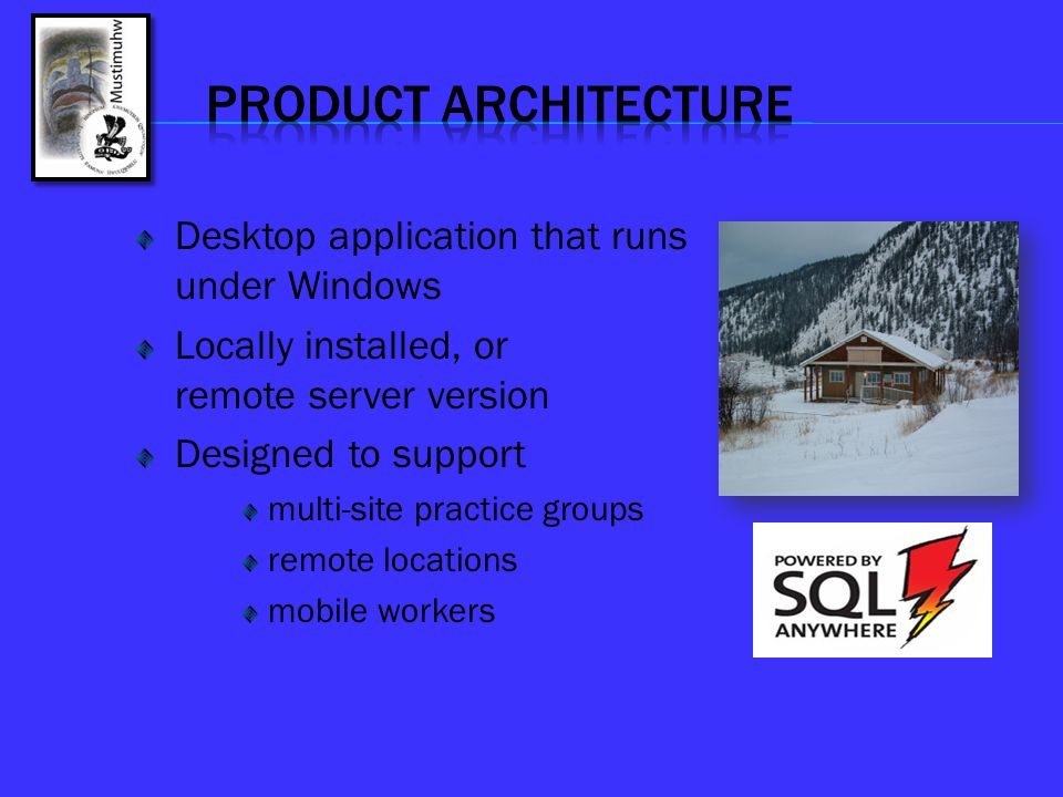 PRODUCT ARCHITECTURE Desktop application that runs under Windows