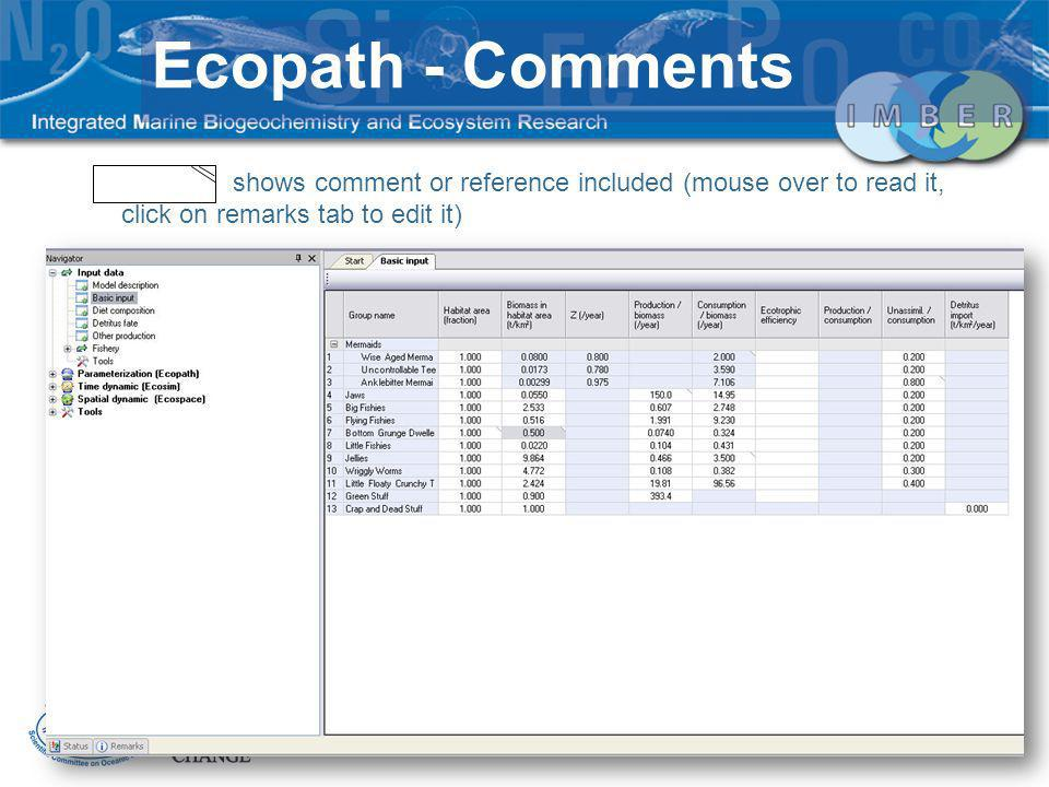 Ecopath - Comments shows comment or reference included (mouse over to read it, click on remarks tab to edit it)
