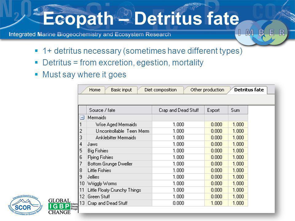 Ecopath – Detritus fate
