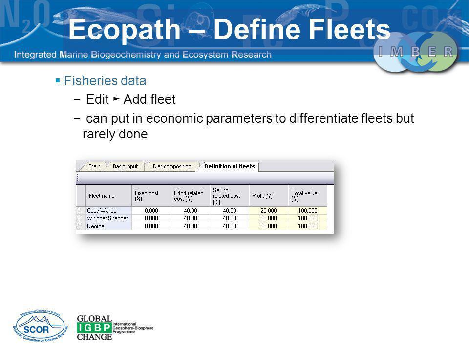 Ecopath – Define Fleets