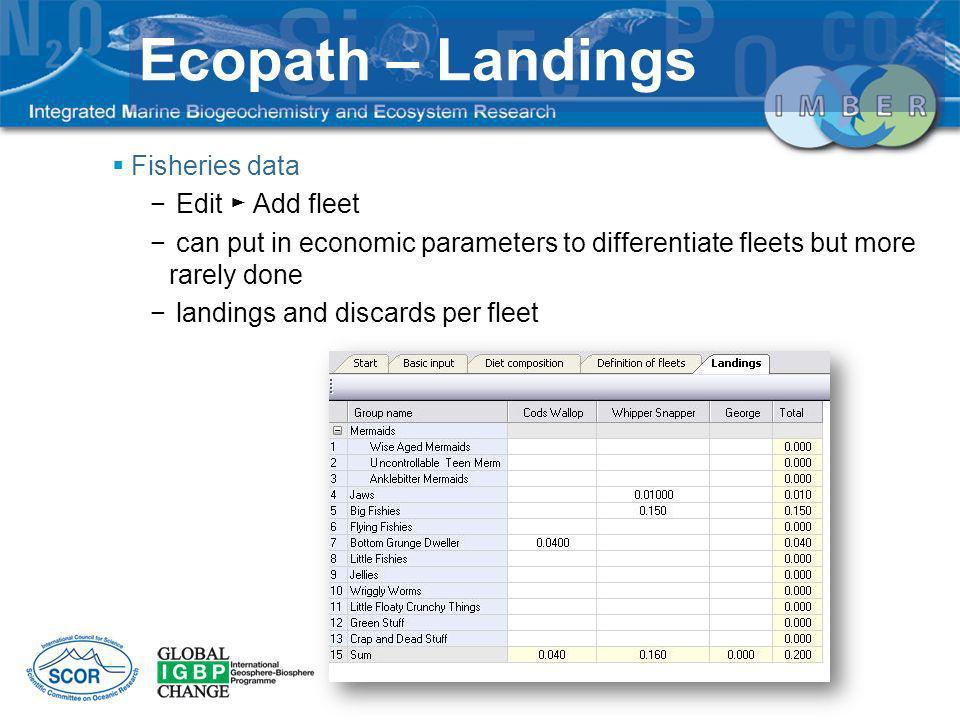 Ecopath – Landings Fisheries data Edit ► Add fleet