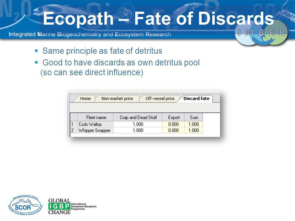 Ecopath – Fate of Discards