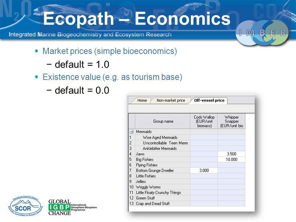 Ecopath – Economics default = 1.0 default = 0.0