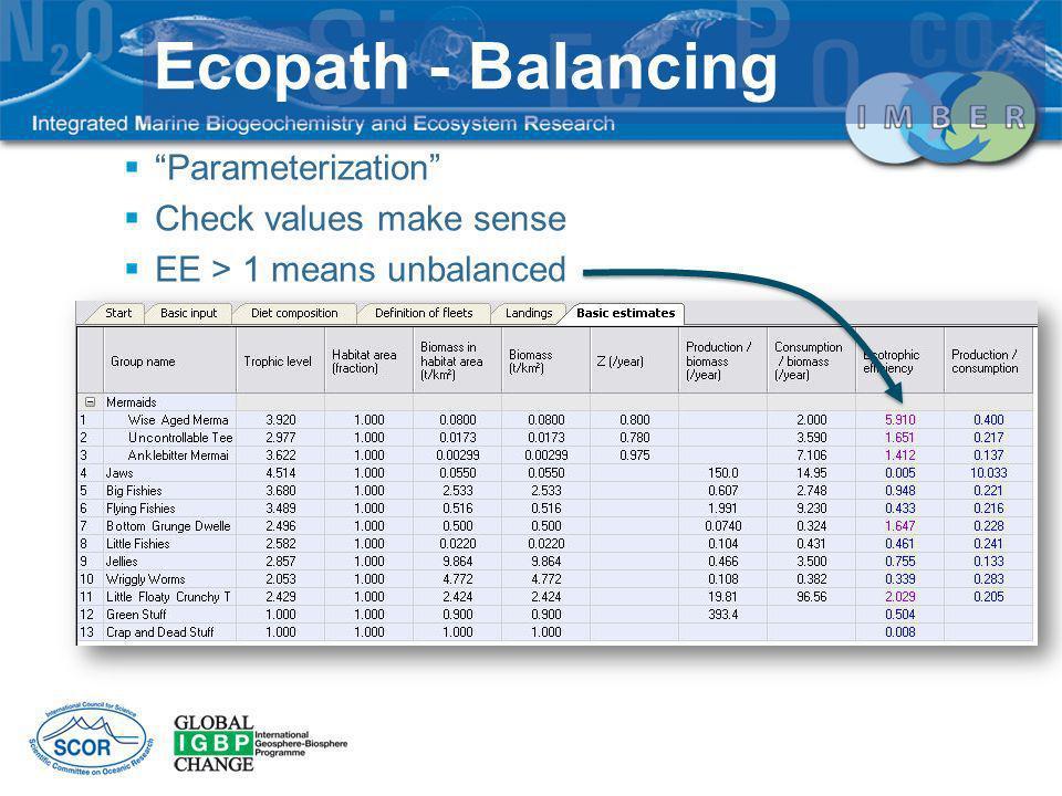 Ecopath - Balancing Parameterization Check values make sense