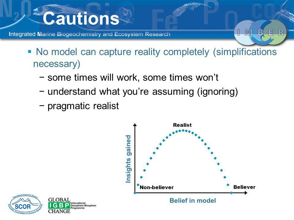 Cautions No model can capture reality completely (simplifications necessary) some times will work, some times won't.