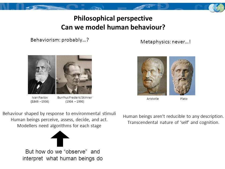 Philosophical perspective Can we model human behaviour