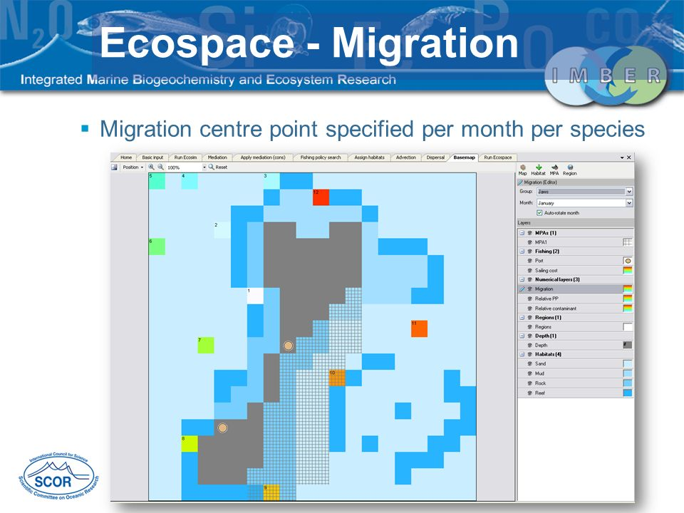 Ecospace - Migration Migration centre point specified per month per species