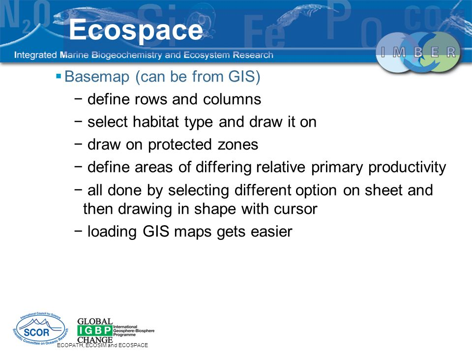 Ecospace Basemap (can be from GIS) define rows and columns