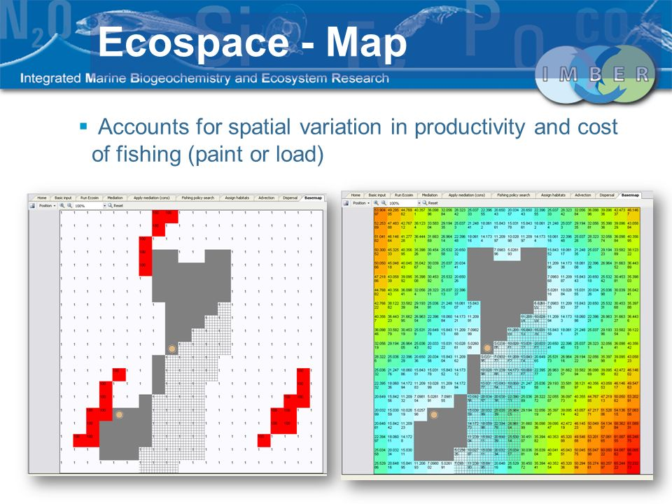 Ecospace - Map Accounts for spatial variation in productivity and cost of fishing (paint or load)