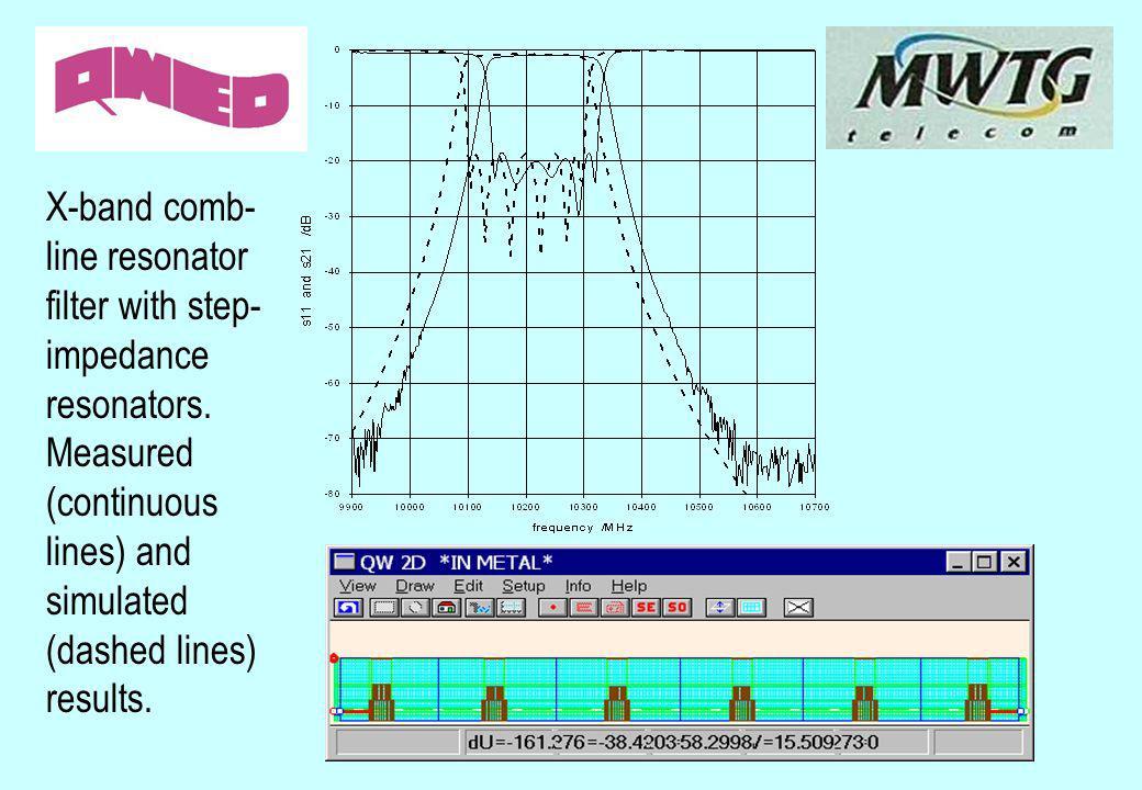 X-band comb-line resonator filter with step-impedance resonators